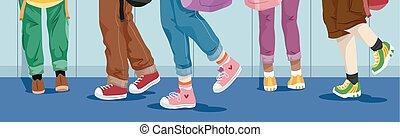 pieds, gosses, école, couloir, marche