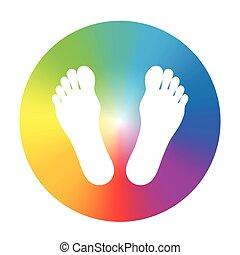 pieds, gradient, roue, couleur