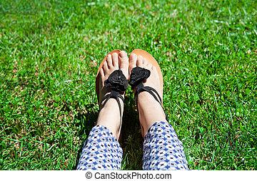 pieds, herbe, vert