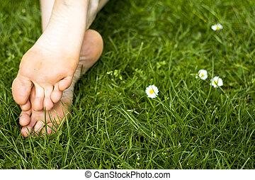 pieds, herbe verte, nu