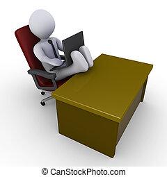 pieds, homme affaires, ordinateur portable, fonctionnement, bureau