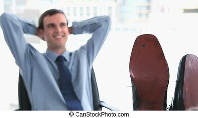 pieds, homme affaires, sien, bureau