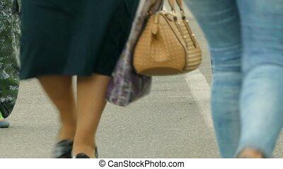 pieds, marche, rue, long, gens