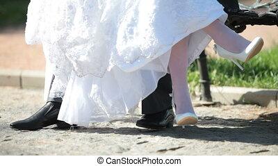 pieds, mariée, palefrenier
