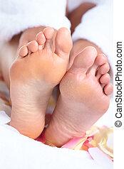 pieds, massage.