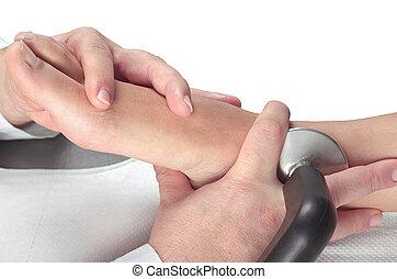 pieds, muscles, thérapie, masage, délassant