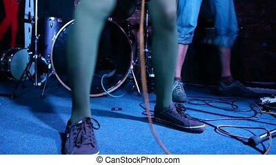 pieds, musiciens, étape