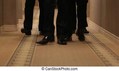pieds, noir, chaussures, homme