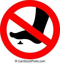 pieds, non, nu, signe