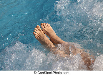 pieds, nu, pendant, thérapie, girl, masage, hydro