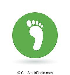 pieds nue, illustration., signe., symbole., pied, vecteur, empreinte, icon.