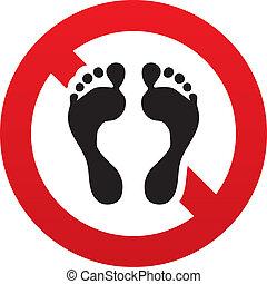 pieds nue, non, symbole., signe, humain, empreinte, icon.