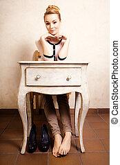 pieds nue, séance, vendange, retro, bureau, girl, style.