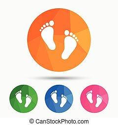 pieds nue, signe, paire, enfant, empreinte, icon.