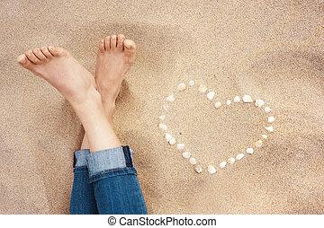 pieds, plage, closeup, femme