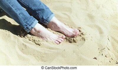 pieds, plage sable, 4k