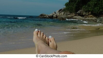 pieds, plage sable