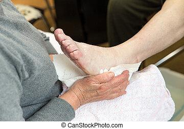 pieds, préparation, podologist, traitement