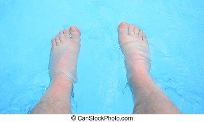 pieds, rafraîchissant, piscine