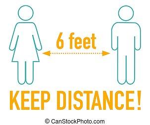 pieds, signe, 6, garder, icône, distance