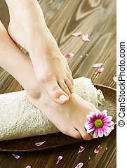 pieds, spa., pédicure