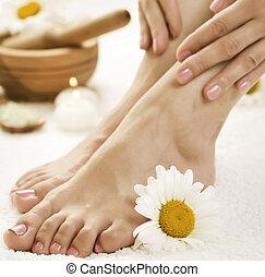 pieds, spa
