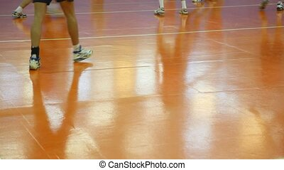 pieds, volleyball., gros plan, courant, joueurs