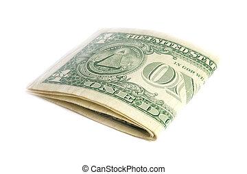 piegato, effetti, dollaro, isolato, ci