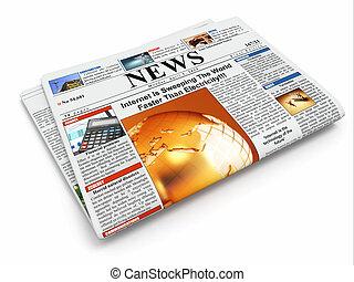 piegato, isolato, fondo, giornale, bianco, news.