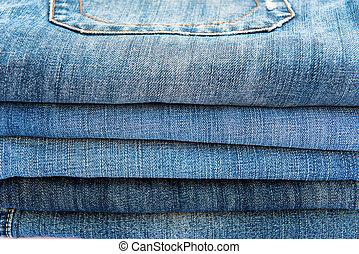 piegato, jeans, pila