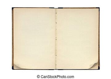 piegato, libro, aperto, pagina, angoli