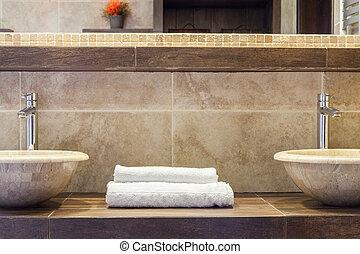 piegato, pulito, asciugamani