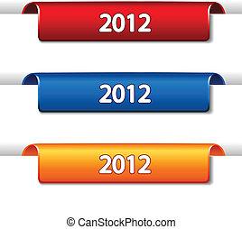 piegato, web, etichette, -, vettore, nastro, pagina, 2012