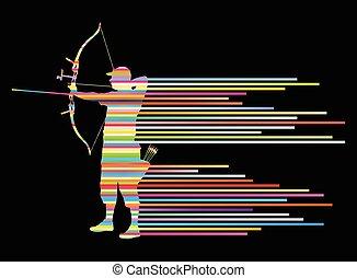 piegatura, concetto, arciere, arco, vettore, fondo, uomo