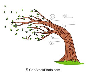 piegatura, soffiando, albero, giorno ventoso, vento