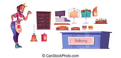 piekarnia, wewnętrzny, mistrz kucharski, sklep, komplet, kobieta