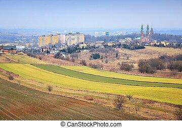 Piekary Slaskie, Poland. Rural view in Silesia region with cityscape.