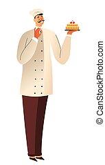 piekarz, ciastko, albo, odizolowany, wyroby cukiernicze, litera, mistrz kucharski, urodziny