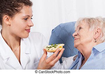 pielęgnować, żywieniowy, starsza kobieta
