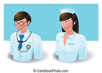 :, pielęgnować, doktor, ludzie, ikony