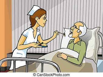 pielęgnować, i, szpital