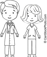 pielęgnować, kolorowanie, book:, rysunek, doktor