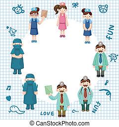pielęgnować, rysunek, karta, doktor