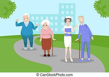 pielęgnować, stary zaludniają
