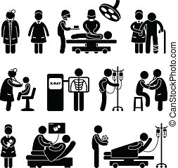 pielęgnować, szpital, operacja, doktor