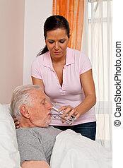 pielęgnować, w, sędziwy, opiekować się, przedimek określony przed rzeczownikami, starszy, w, altenhei
