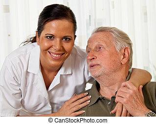 pielęgnować, w, starsza troska, dla, przedimek określony przed rzeczownikami, starszy, w, pielęgnacja domy