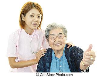 pielęgnować, z, starsza kobieta