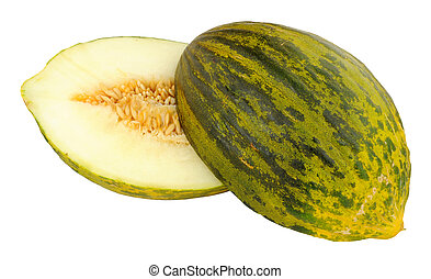 Piel De Sapo Melon - Fresh ripe Piel De Sapo melon partially...