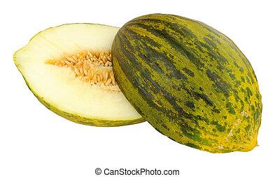 Piel De Sapo Melon - Fresh ripe Piel De Sapo melon partially...
